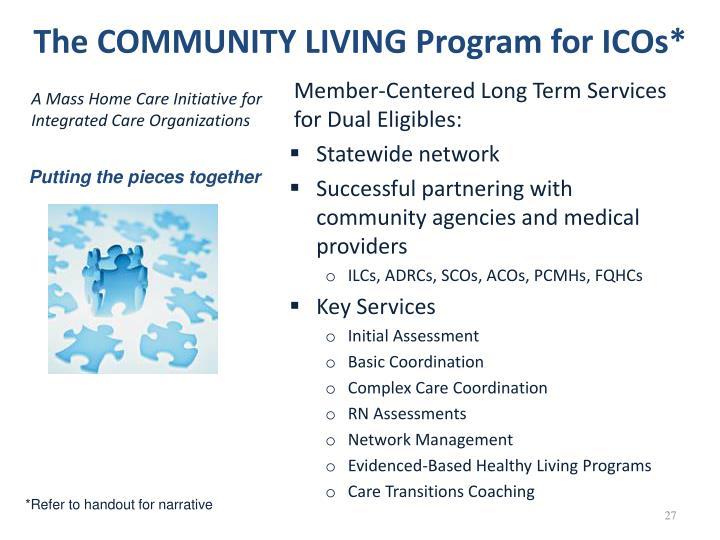 The COMMUNITY LIVING Program for ICOs*