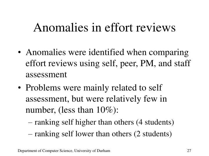 Anomalies in effort reviews