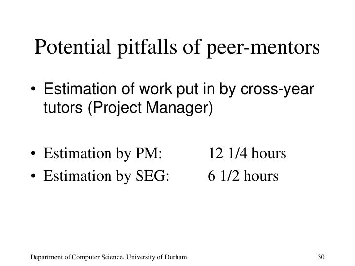Potential pitfalls of peer-mentors