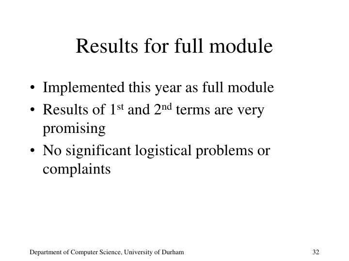 Results for full module