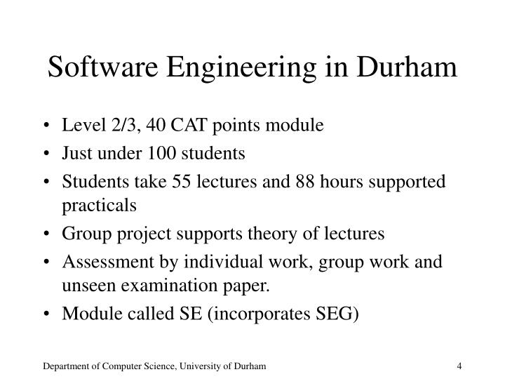 Software Engineering in Durham