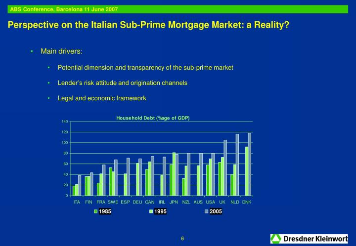 Perspective on the Italian Sub-Prime Mortgage Market: a Reality?