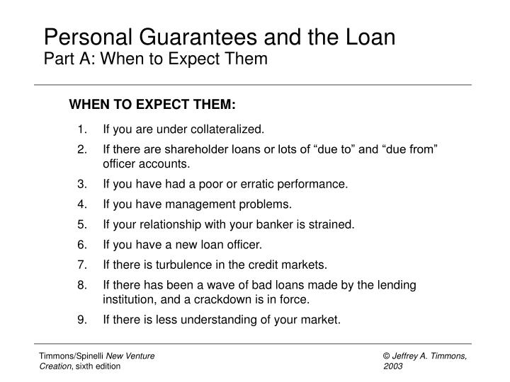 Personal Guarantees and the Loan