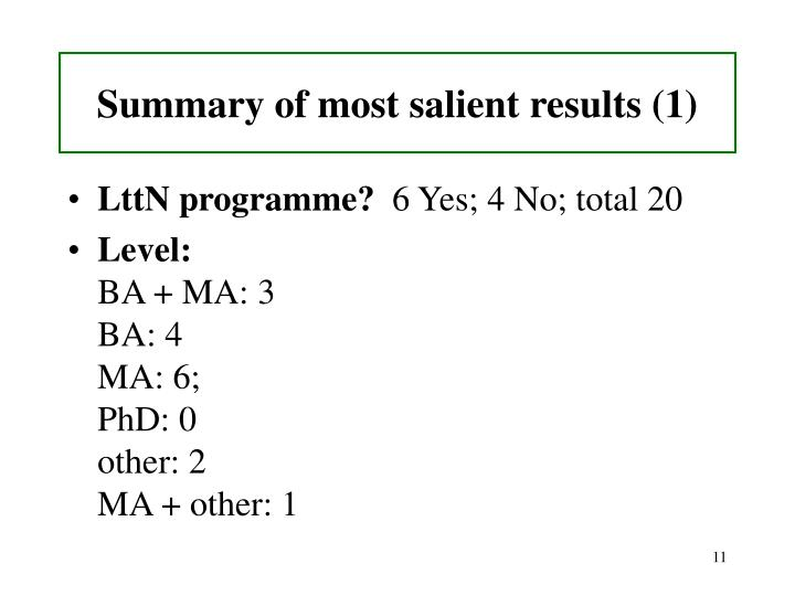 Summary of most salient results (1)