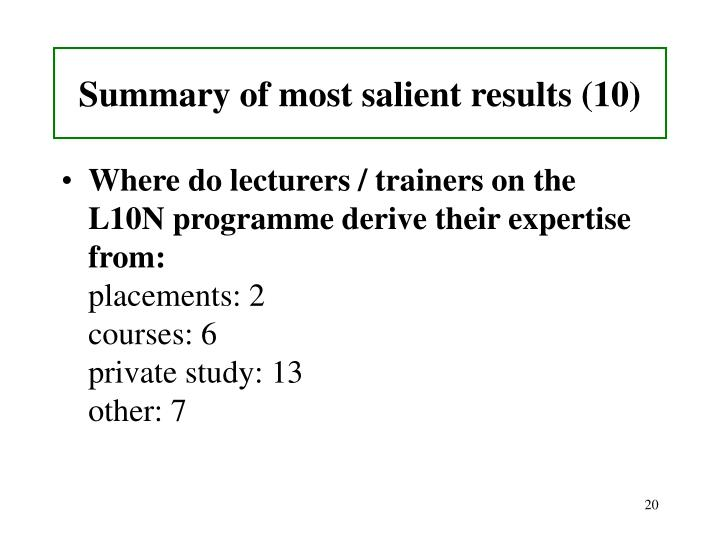 Summary of most salient results (10)