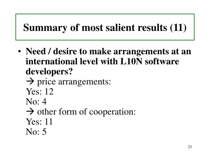Summary of most salient results (11)