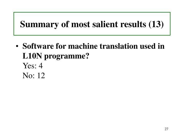Summary of most salient results (13)