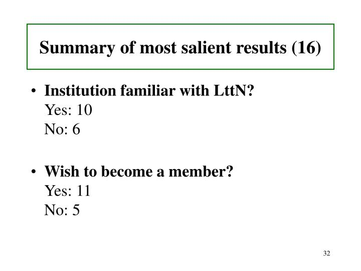 Summary of most salient results (16)
