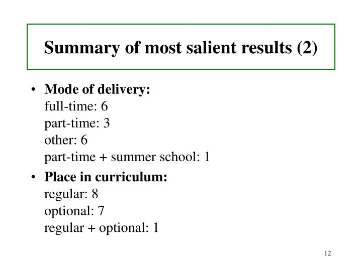 Summary of most salient results (2)