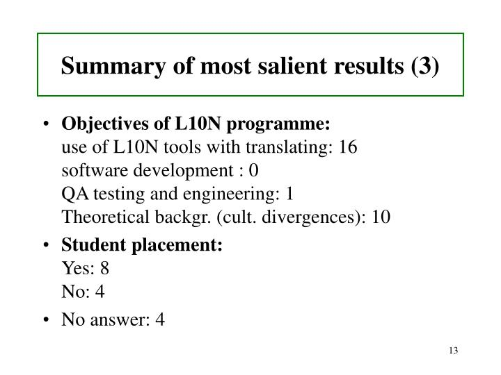 Summary of most salient results (3)