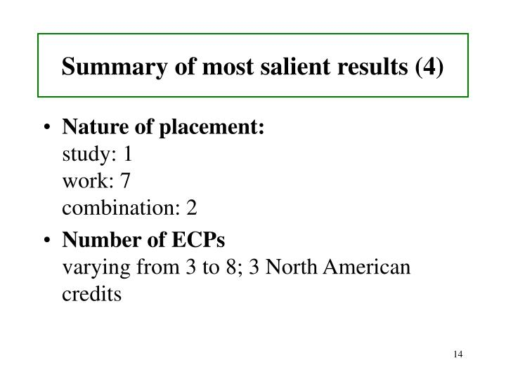 Summary of most salient results (4)