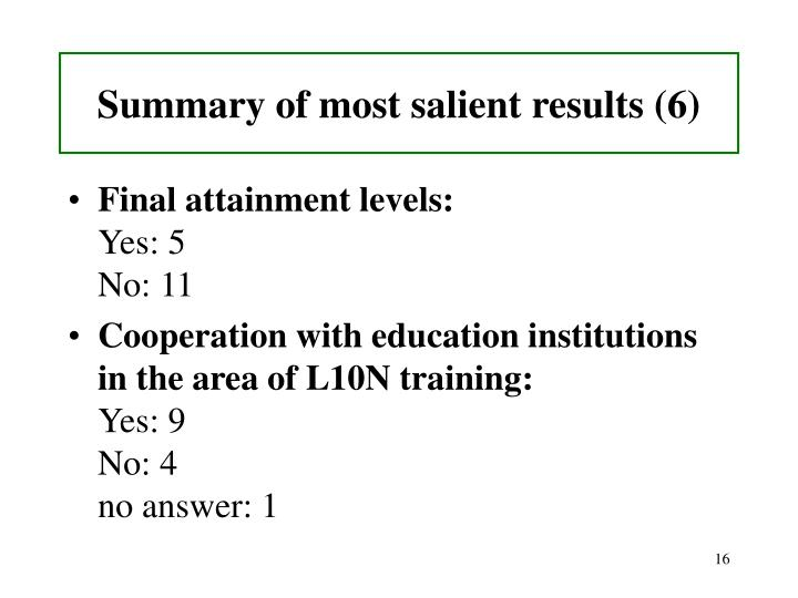 Summary of most salient results (6)