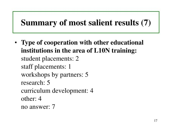 Summary of most salient results (7)