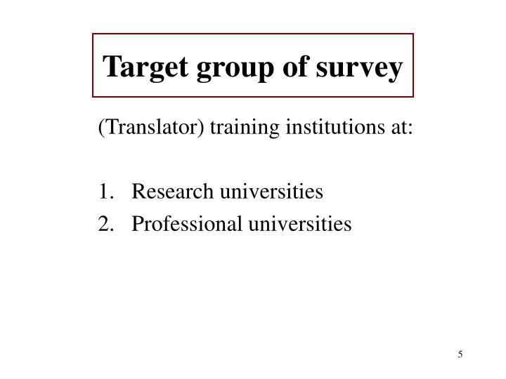 Target group of survey