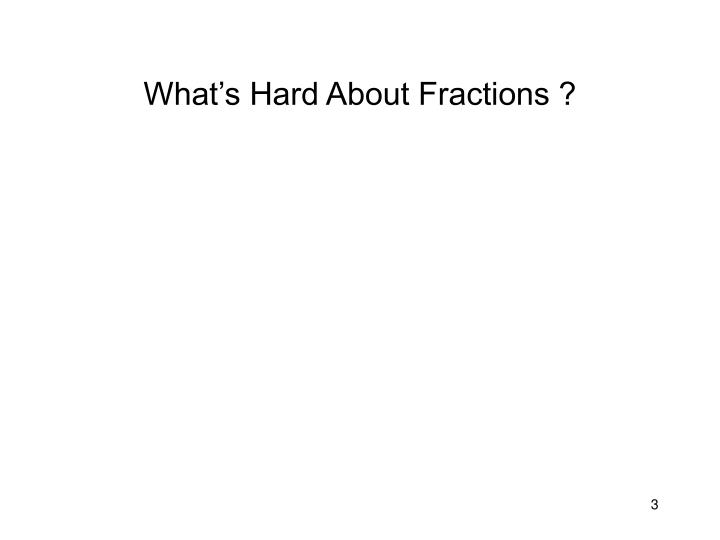 What's Hard About Fractions ?