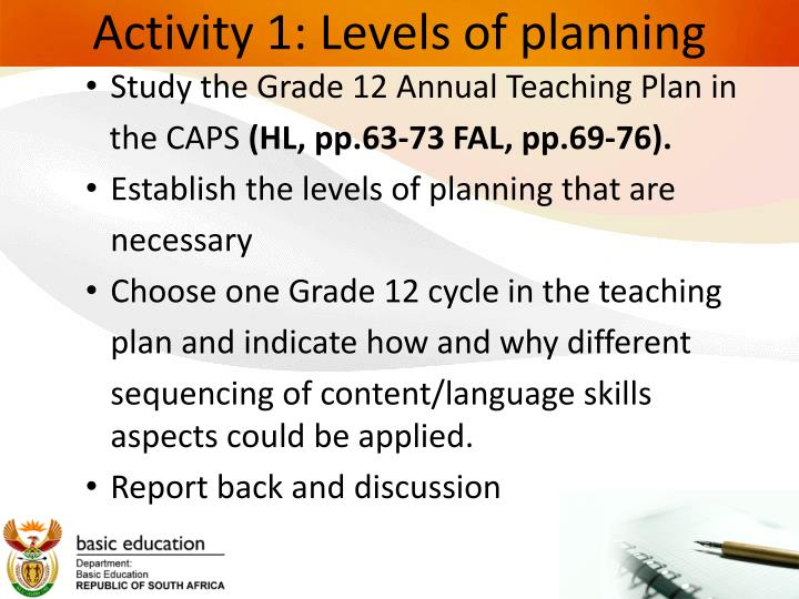 Activity 1: Levels of planning