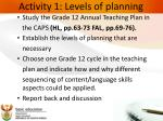 activity 1 levels of planning