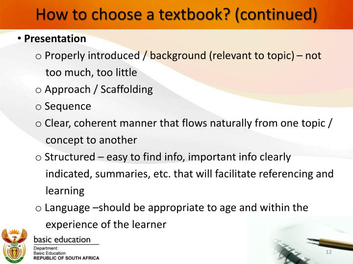 How to choose a textbook? (continued)
