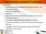 how to choose a textbook continued
