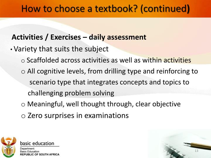 How to choose a textbook? (continued