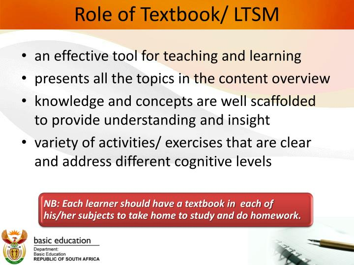 Role of Textbook/ LTSM