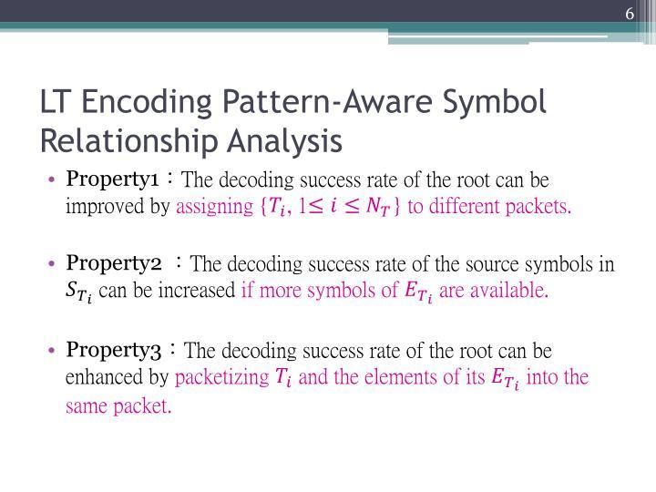 LT Encoding Pattern-Aware Symbol Relationship Analysis
