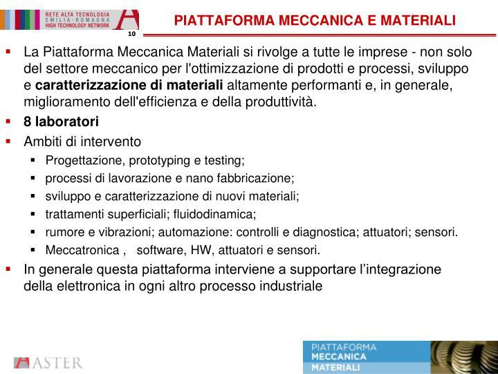PIATTAFORMA MECCANICA E MATERIALI