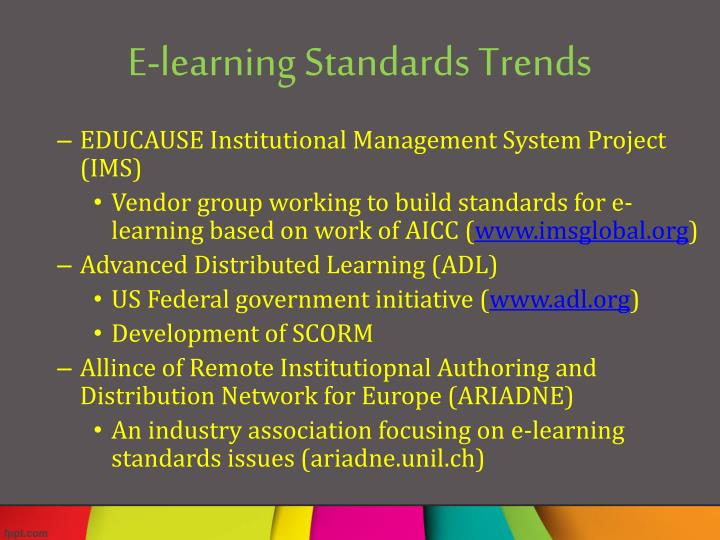 E-learning Standards Trends