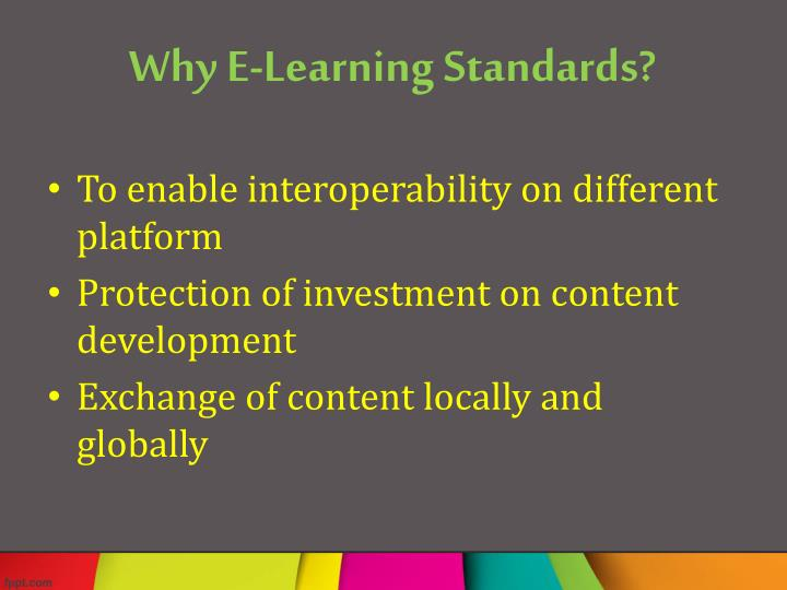Why e learning standards