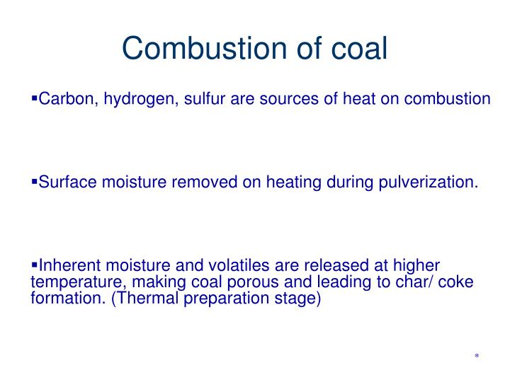 Combustion of coal