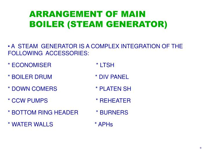 ARRANGEMENT OF MAIN BOILER (STEAM GENERATOR)