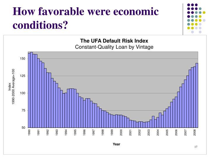 How favorable were economic conditions?