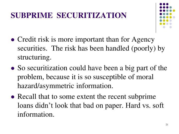 SUBPRIME  SECURITIZATION