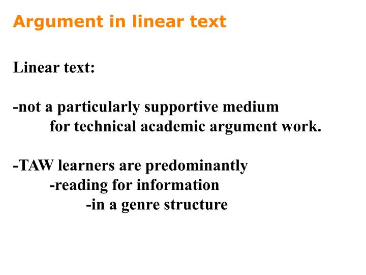 Argument in linear text
