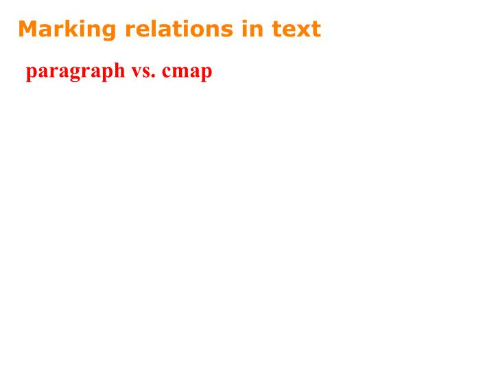 Marking relations in text