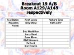 breakout 19 a b room a129 a148 respectively