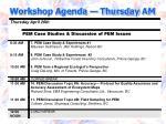 workshop agenda thursday am