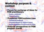 workshop purpose context