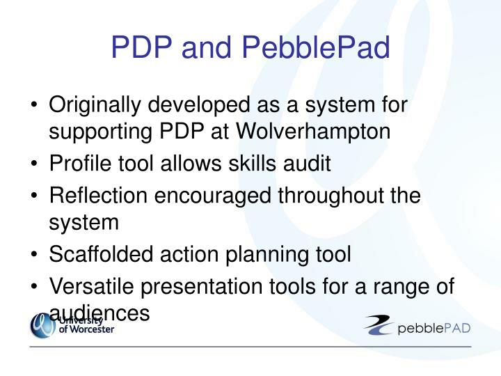 PDP and PebblePad