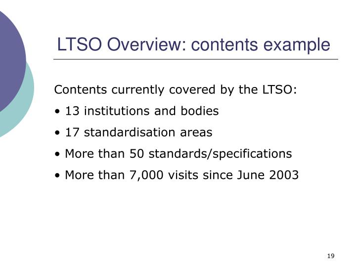 LTSO Overview: contents example