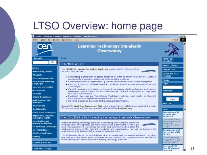 LTSO Overview: home page