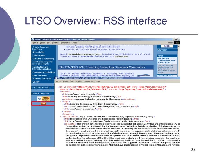 LTSO Overview: RSS interface