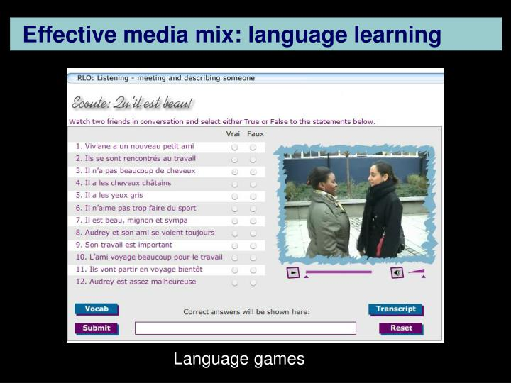 Effective media mix: language learning