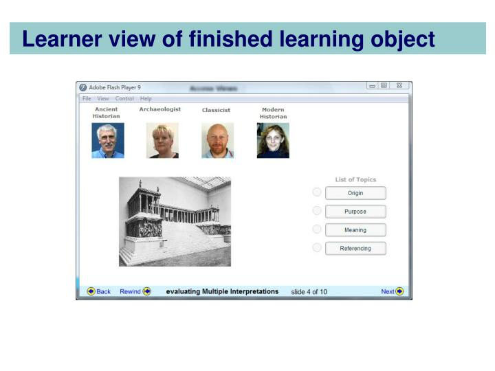 Learner view of finished learning object