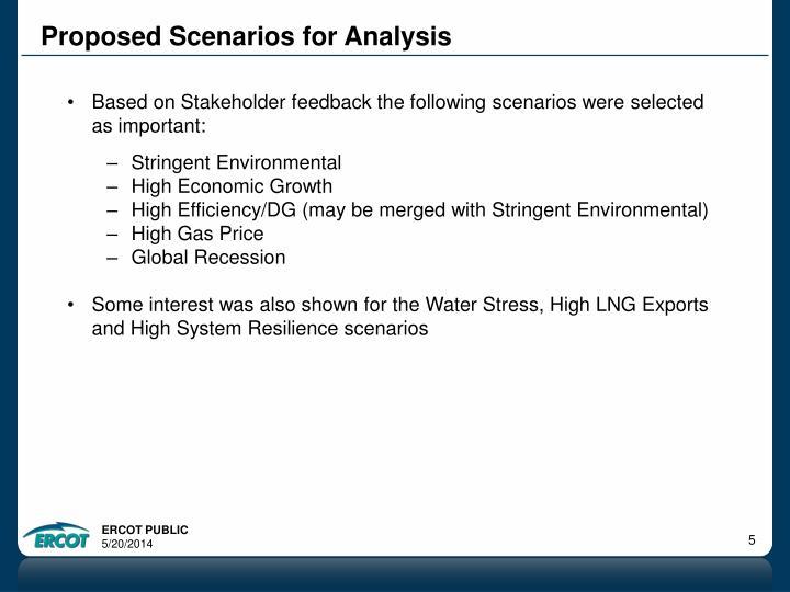 Proposed Scenarios for Analysis