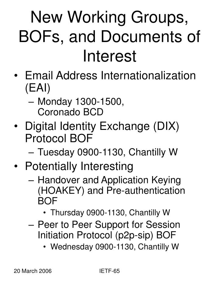 New Working Groups, BOFs, and Documents of Interest