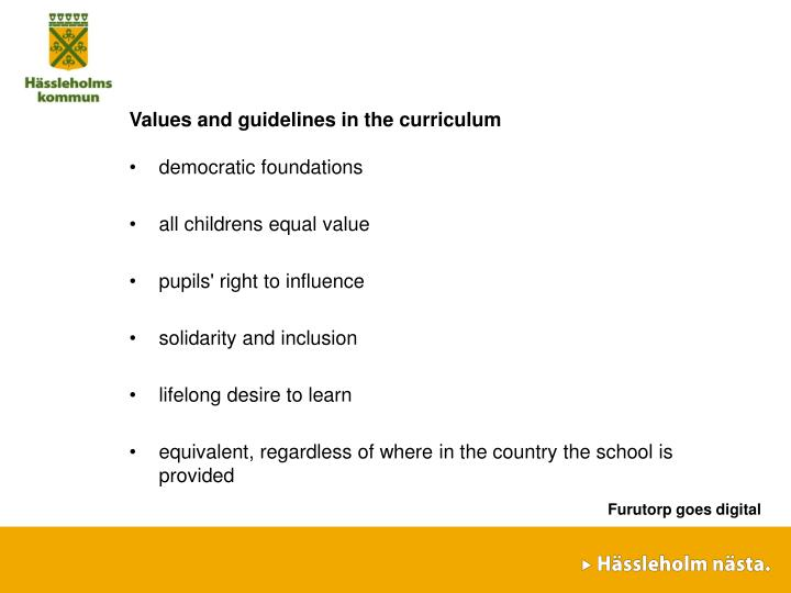 Values and guidelines in the curriculum