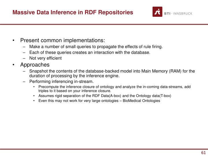 Massive Data Inference in RDF Repositories