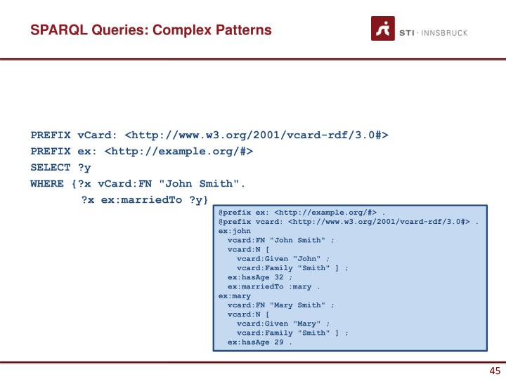 SPARQL Queries: Complex Patterns