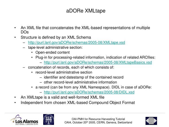 aDORe XMLtape